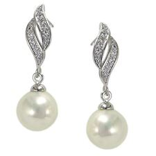 9ct White Gold Filled Womens Stud Earrings Drop Dangle Pearl and CZ Crystals