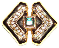 And Clear Crystal Pin Brooch Vintage Gold Tone With Green Emerald