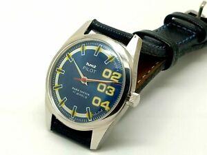 genuine hmt pilot hand winding mens steel blue dial 17j vintage india watch run