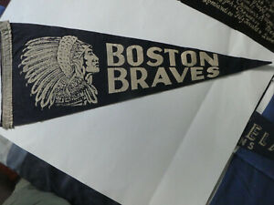 Boston Braves, RARE, Pennant, Large (28'' x 11''), Dark Blue Felt with White