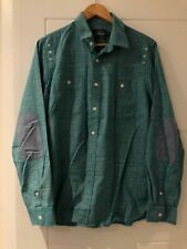 TOPMAN green turquoise shirt denim elbow patches size M highstreet streetwear
