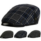 Men Plaid Cabbie Ivy Hats Newsboy Gatsby Cap Golf Driving Flat Retro Peaked Hat