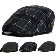 Men's Plaid Cabbie Newsboy Ivy Hats Gatsby Cap Golf Driving Flat Sun Peaked Hat