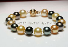 gold multicolor pearl bracelet 7.5inch High quality 10-11mm Tahitian black green