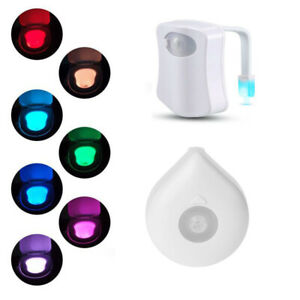 Colors Toilet LED Night Light Human Body Motion Activated Seat Sensor Lamp Bath