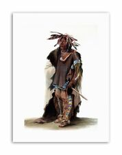 STUDY NATIVE AMERICAN BODMER SIOUX WARRIOR Painting Military Canvas art Prints