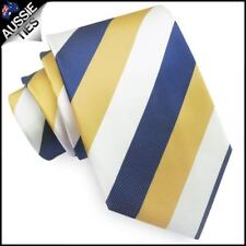 Mens Blue, Yellow & White Stripes Sports Tie Cowboys Colours North Queensland