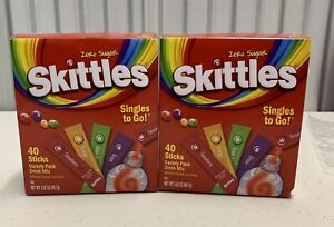 Lot of 2! Skittles Singles to Go Drink Mix, 4-Variety Pack, 40CT Each Box! New!