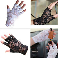 ALS_ Women Gothnic Party Sexy Dressy Lace Gloves Fingerless Black White Mittens