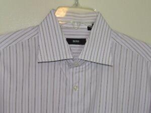 Hugo Boss Mens Dress Shirt Size 16 White & Purple Striped 34 35 LS Button Up