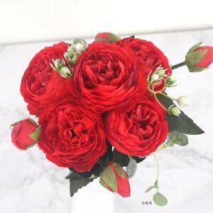 1 Bouquet 9 Head Artifical Plastic Rose Wedding Office Home Decor Silk Flower