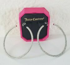 Juicy Couture Large Pave Hoop Earrings Silver Tone With Rhinestones