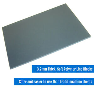Soft Polymer Lino Printing Blocks 3.2mm - Grey Safe and Easy to Use CHOOSE SIZE