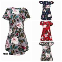 Short Sleeve Mini Dress Womens Size S-4XL Summer Tops Loose Casual Shirt Tunic