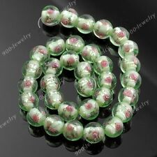 1 strand vert lampwork verre fleur ballon rond loose bead jewelry findings 12mm