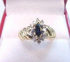 NATURAL BLUE SAPPHIRE MARQUISE .35 CT w/ BAGUETTE & ROUND DIAMONDS 14K GOLD RING