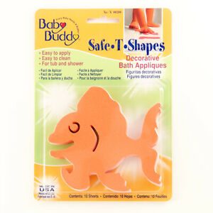 Baby Buddy BB Safe T Shapes Bath Tub Appliques Safer Footing Goldfish 10 Count