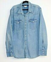 Levi men's long sleeve button up denim shirt pearl snap buttons size XL