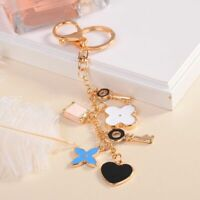 Charm Key Chain Flower Keyrings Heart Ring Crystals Holder Bag Purse Accessories