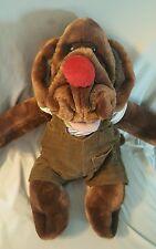 "Vtg Wrinkles 17"" Dog Plush Stuffed Animal Puppet by Ganz bros coveralls MINT"
