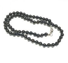 Schwarzer Turmalin Schörl Halskette einz. geknotet ca. 6 mm / 45 cm