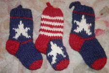 Three Small Hand Knitted Christmas Stockings