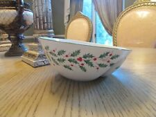 """Lenox China Divided Angled Serving Bowl American By Design 8.75"""" Holly & Berry"""