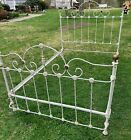 Antique Vintage White Iron Bed Frame with Rails