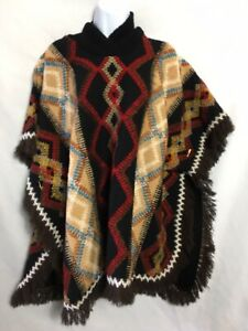 Vtg Molina Pancho Cape Fringe Aztec Mexican Boho Black Red L Acrylic Cowl Neck