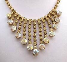 Opulent Vintage Lemon & Aurora Crystal Graduated Bib Necklace