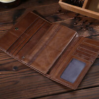 Men's Genuine Leather Trifold Wallet Clutch Card Purse Checkbook Handbag Vintage