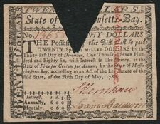 "May, 1780 Massachusetts Colonial $20 Note ""XF Cut Cancelled"""