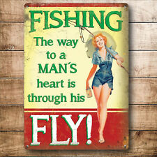 FUNNY GIFT FOR HIM MEN HUSBAND BOYFRIEND FISHING JOKE METAL SIGN PRESENT NOVELTY