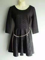 Black Argyle Pattern Fit and Flare Scuba Skater Dress By MANDI Sz 10/12 -no belt