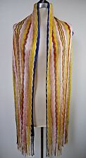 MISSONI Orange Label multicolored knit scarf with fringe ends