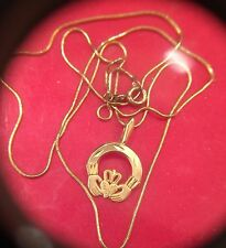 Beautiful Ladies 14k Snake Chain with 14k Claddagh Pendant Wear Not Scrap