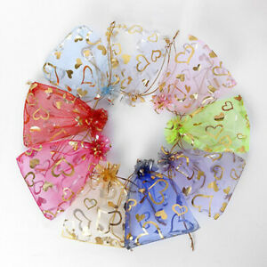50/100Pcs Organza Gift Bags Wedding Party Favour Xmas Jewellery Candy Pouches