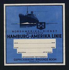 Shipping Company HAMBURG-AMERIKA LINIE * Old Luggage Label Kofferaufkleber #2