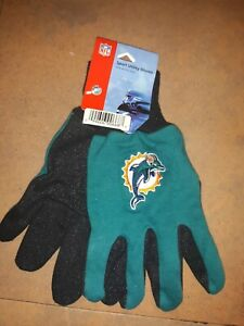 Miami DOLPHINS gloves TWO TONE Embroidered Logos NFL outdoor utility NEW!! Sale