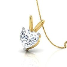 2.00 Ct VVS1 Diamond Herart Solitaire Pendent 14K Solid Yellow Gold Necklaces