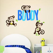 GIUNGLA Scimmia Personalizzata Nome Bambini Bambine Bambini Wall Sticker Decalcomania In Vinile