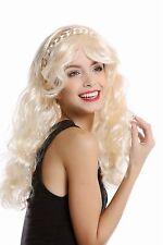 Perücke Damen Karneval hellblond blond lang wellig lockig geflochten Haarreif