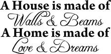A HOUSE IS MADE OF WALLS Decal Vinyl WALL STICKER Art Home Decor Quote SQ1001