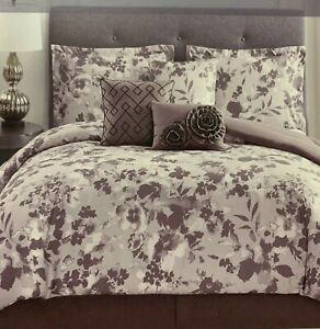 Style Sanctuary, 7 Pc  Monochromatic Floral Pattern Comforter Set | Queen