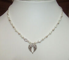 Guardian Angel Wings Crystal White Pearl and Silver Bead Necklace in Gift Bag