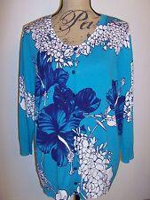 TALBOTS Island Hibiscus Charming Cardigan 3/4 Sleeve NWT Cotton/Rayon Multi S