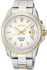 SEIKO Perpetual Calendar SNQ132 SNQ132P1 Men Sapphire 2 Tone Quartz 100m Watch