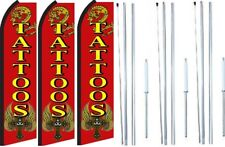 Tattoos Swooper Flag With Complete Hybrid Pole set- 3 pack