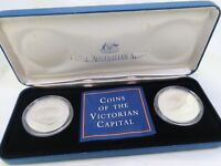 RAM COINS OF THE VICTORIAN CAPITAL, TWO COIN FINE SILVER SET 1998
