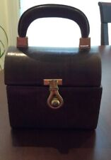 Vintage Lunchbox Style Leather Handbag Brown